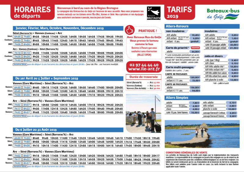 Les horaires du bateau bus pour l'ILE D'ARZ